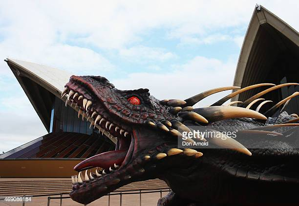 A dragon statue is displayed during a photo call to launch 'Game of Thrones' Season 5 at the Sydney Opera House on April 10 2015 in Sydney Australia