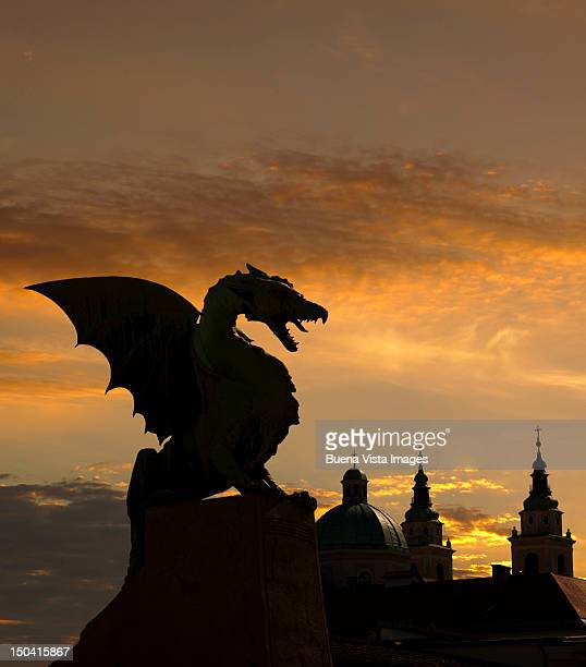 Dragon statue on Dragon Bridge over Ljublja
