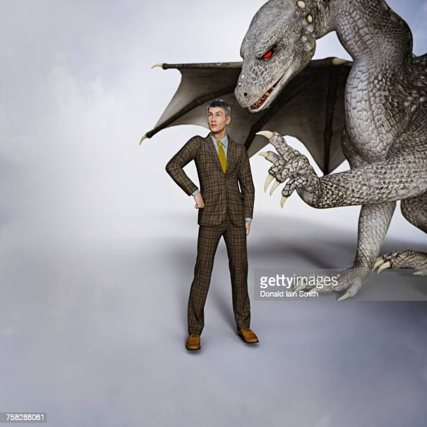 Dragon tapping businessmen on shoulder