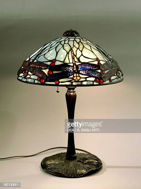 Dragonfly Lamp with opal glass polychrome shade in Favrile glass and glass jewel cabochon applications Clara Driscoll Tiffany Studios piece number...