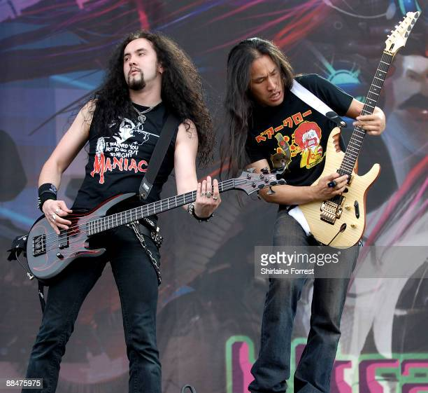 Dragonforce performs at day two of the Download Festival at Donington Park on June 13 2009 in Castle Donington England