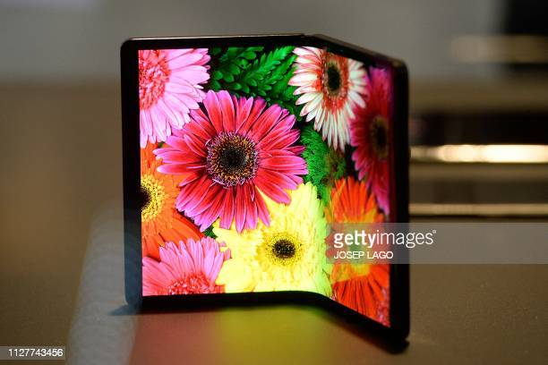DragonHinge foldable prototype is displayed at the Mobile World Congress in Barcelona on February 27 2019 Phone makers will focus on foldable screens...