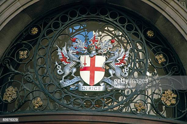 dragons and city of london crest - coat of arms stock pictures, royalty-free photos & images