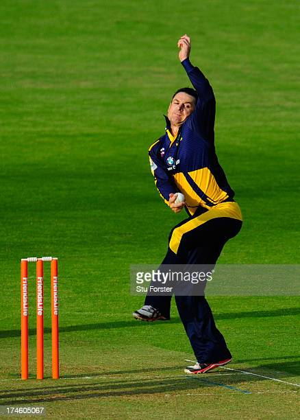 Dragons bowler Nathan McCullum in action during the Friends Life T20 match between Glamorgan Dragons and Worcestershire Royals at SWALEC Stadium on...