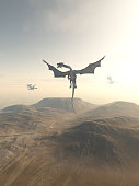 Dragons Circling over a Mountain Landscape