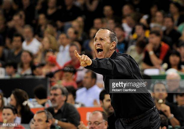Dragons coach Brian Goorjian gestures to his players during game five of the NBL Final series at Hisense Arena on March 13 2009 in Melbourne Australia