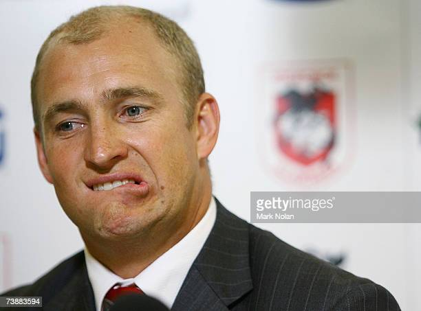 Dragons coach Nathan Brown is pictured in the post match press conference after the round five NRL match between the St George Illawarra Dragons and...