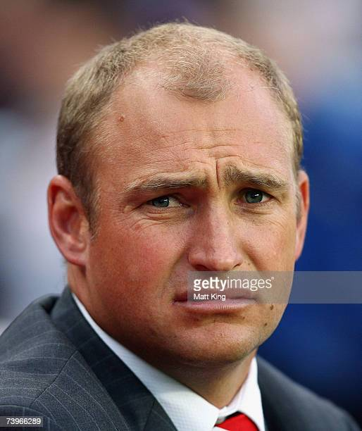 Dragons coach Nathan Brown looks unhappy during the round seven NRL match between the Sydney Roosters and the St George Illawarra Dragons at Aussie...