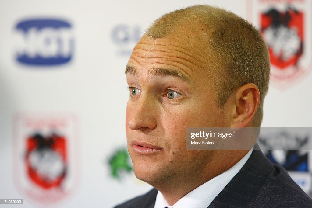 Dragons coach Nathan Brown speaks to the media in a post match press conference after the round 13 NRL match between the St George Illawarra Dragons and the Cronulla Sharks at OKI Jubilee Stadium June 11, 2007 in Sydney, Australia.