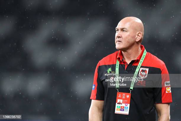 Dragons coach Paul McGregor looks on as he stands on the field before the round 14 NRL match between the Parramatta Eels and the St George Illawarra...