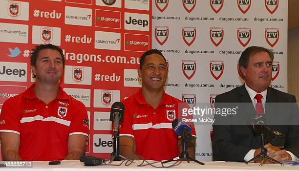 Dragons coach Steve Price, Benji Marshall and CEO Peter Doust speak to the media during a St George Illawarra Dragons NRL press conference at Kogarah...