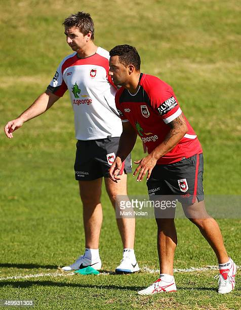 Dragons coach Steve Price watches Benji Marshall take part in a defensive drill during a St George Illawarra Dragons NRL training session at WIN...
