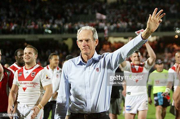 Dragons coach Wayne Bennett acknowledges the crowd after the round 26 NRL match between the St George Illawarra Dragons and the Parramatta Eels at...