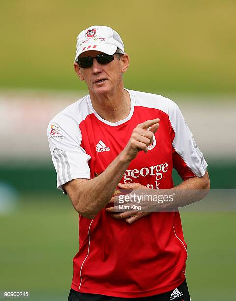 Dragons coach Wayne Bennett talks to players during a St George Illawarra Dragons NRL training session held at WIN Jubilee Stadium on September 18,...