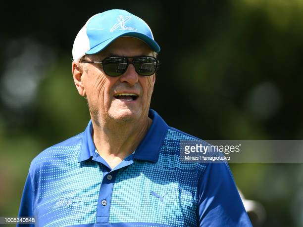 Dragons Den personality Jim Treliving looks on from the seventh tee during the practice rounds at the RBC Canadian Open at Glen Abbey Golf Club on...