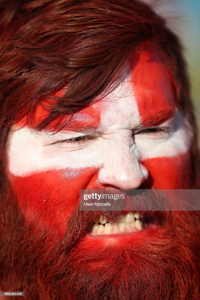 A Dragons fan cheers during the round 11 NRL match between the St George Illawarra Dragons and the Canberra Raiders at Glen Willow Sporting Complex on May 20, 2018 in Mudgee, Australia.