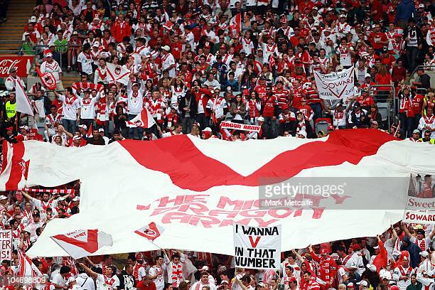 Dragons fans hold aloft a huge Jersey during the NRL Grand Final match between the St George Illawarra Dragons and the Sydney Roosters at ANZ Stadium...