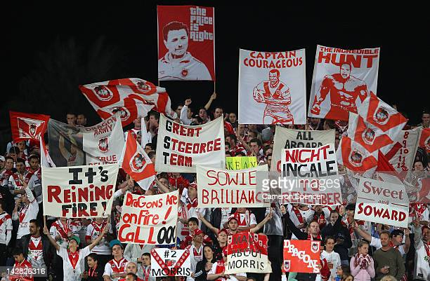 Dragons fans show their banners during the round seven NRL match between the St George Illawarra Dragons and the Newcastle Knights at WIN Jubilee...