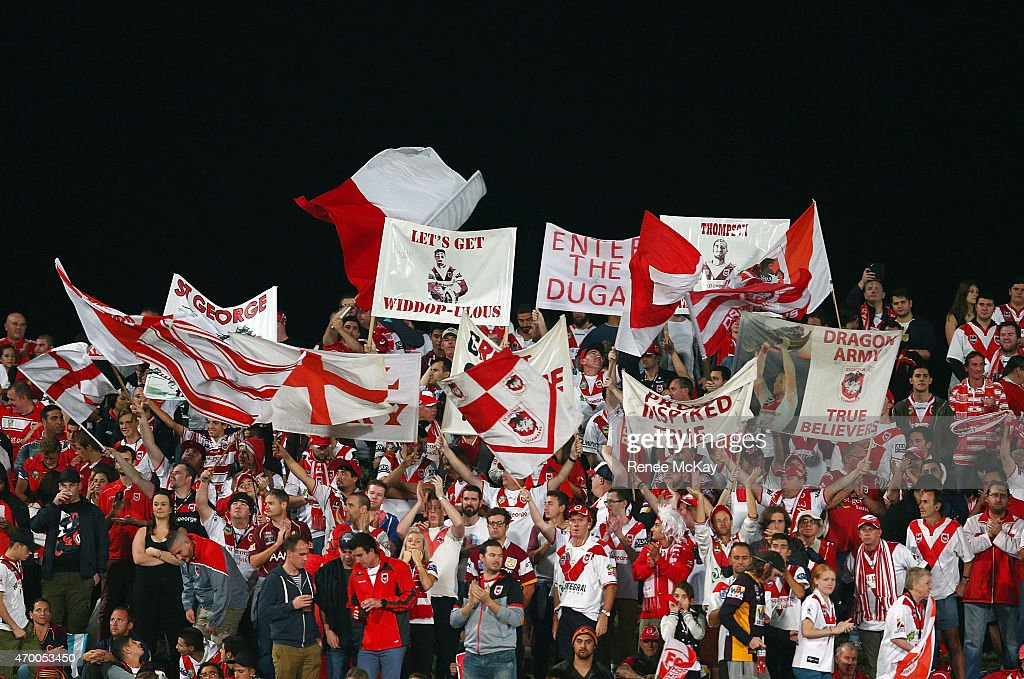 Dragons fans show their support during the round seven NRL match between the St George Illawarra Dragons and the Brisbane Broncos at WIN Jubilee Stadium on April 17, 2015 in Sydney, Australia.