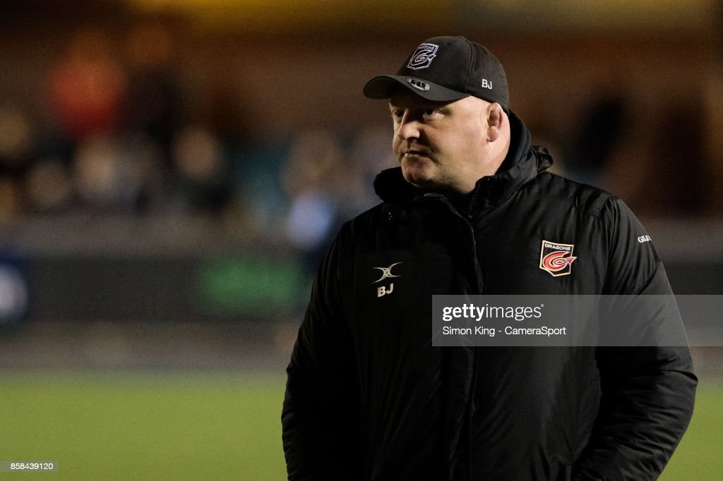 Dragons' Head Coach Bernard Jackman during the pre match warm up during the Guinness Pro14 Round 6 match between Cardiff Blues and Dragons on October 6, 2017 at Cardiff Arms Park in Cardiff, Wales.
