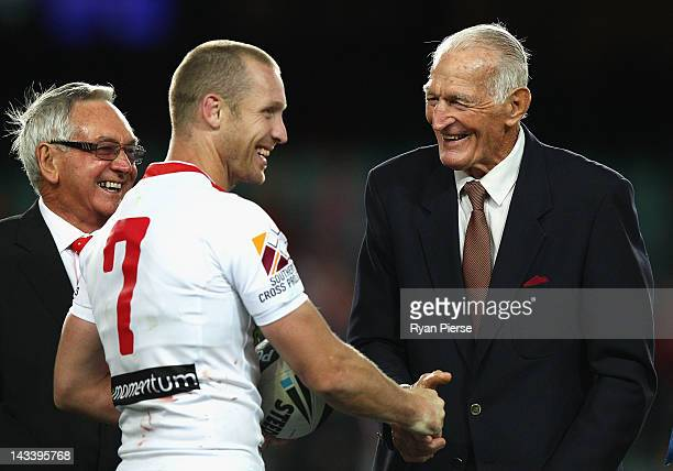 Dragons Legend Norm Provan congratulates Ben Hornby of the Dragons as he claims the Dragons games record after the round eight NRL match between the...