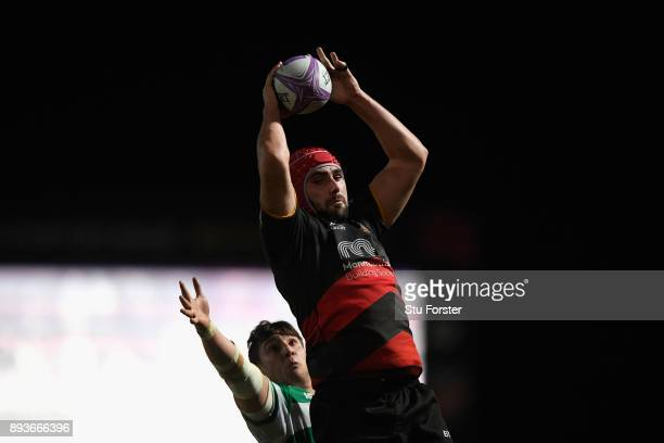 Dragons player Cory Hill wins a lineout ball during the European Rugby Challenge Cup match between the Dragons and Newcastle Falcons at Rodney Parade...