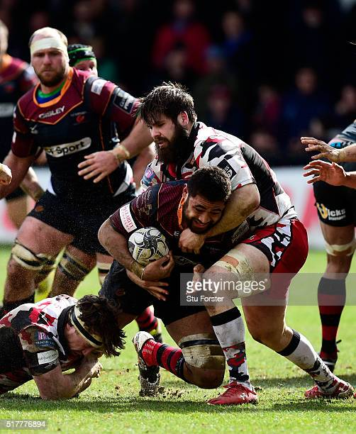 Dragons player Taulupe Faletau is stopped just short of the try line by Cornell Du Preez of Edinburgh during the Guinness Pro 12 match between...