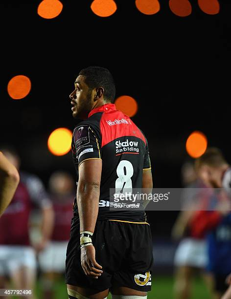 Dragons player Taulupe Faletau looks on during the European Rugby Challenge Cup match between Newport Gwent Dragons and Newcastle Falcons at Rodney...