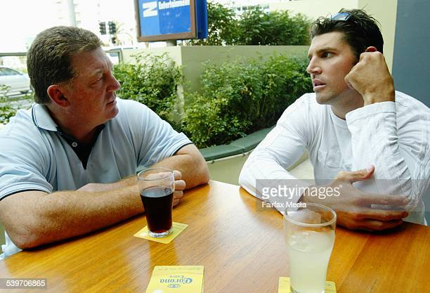 Dragons player Trent Barret talks to Rugby League Coach Phil Gould at Northies hotel in Cronulla, 2 September 2005. SHD Picture by LEE BESFORD