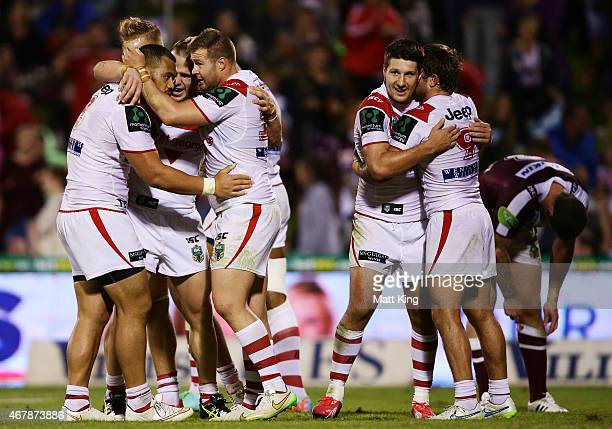 Dragons players celebrate victory after the round four NRL match between the St George Illawarra Dragons and the Manly Warringah Sea Eagles at WIN...