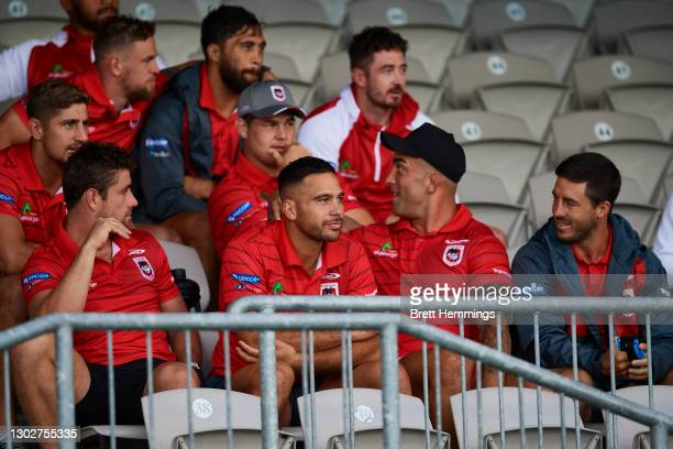 Dragons players look on during the NRL trial match between the Parramatta Eels and the St George Illawarra Dragons at Netstrata Jubilee Stadium on...