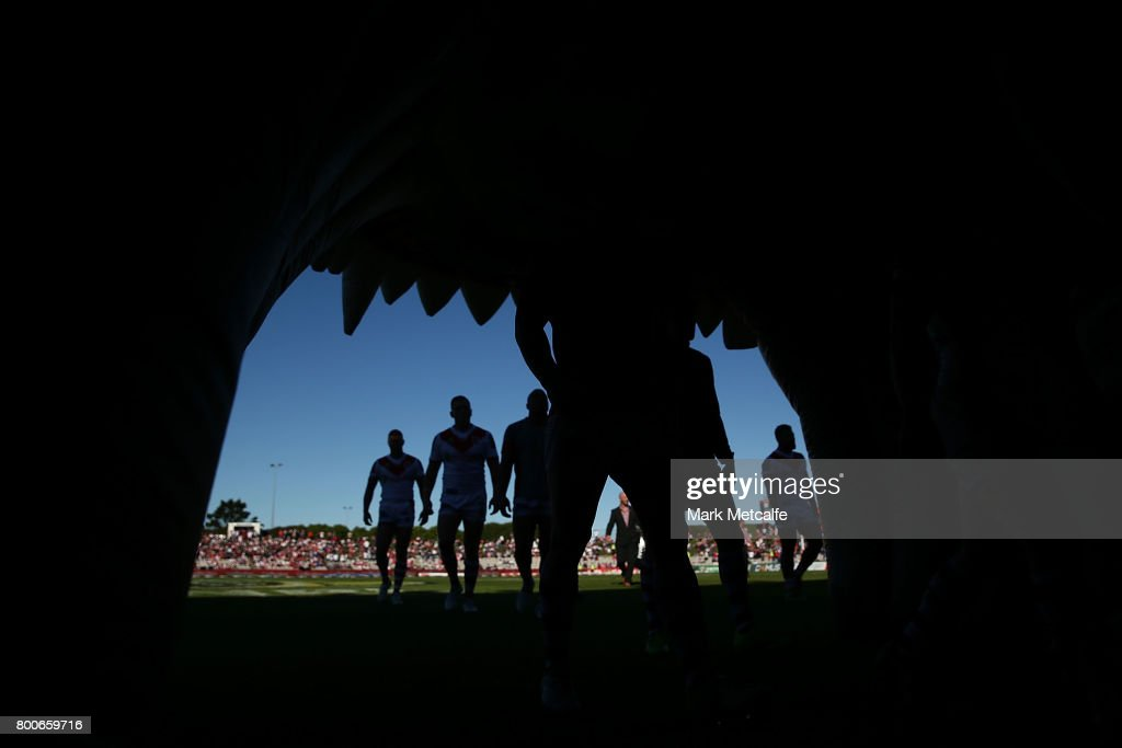 Dragons players walk from the field after warm up before the round 16 NRL match between the St George Illawarra Dragons and the Newcastle Knights at UOW Jubilee Oval on June 25, 2017 in Sydney, Australia.