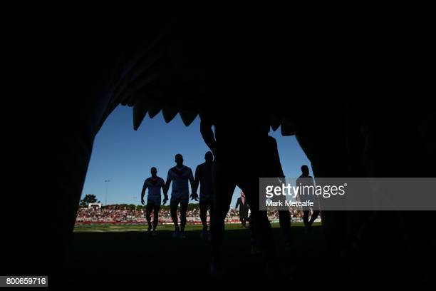 Dragons players walk from the field after warm up before the round 16 NRL match between the St George Illawarra Dragons and the Newcastle Knights at...