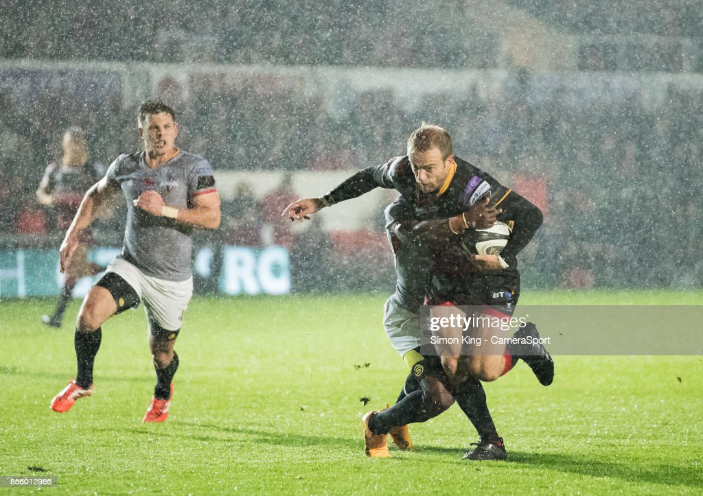 Dragons' Sarel Pretorius is tackled by Southern Kings' Masixole Banda during the Guinness Pro14 Round 5 match between Dragons and Southern Kings at Rodney Parade on September 30, 2017 in Newport, Wales.