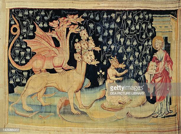 Dragons Spewing Frogs 14th century French tapestry from the cycle Apocalypse of Saint John or Angers Apocalypse woven by Nicolas Bataille based on...