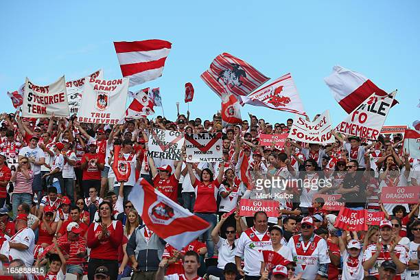 Dragons supporters cheer as their team takes the field for the round five NRL match between the St George Illawarra Dragons and the Newcastle Knights...