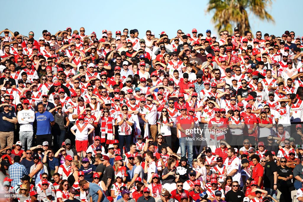 Dragons supporters watch on during the round nine NRL match between the St George Illawarra Dragons and the Melbourne Storm at UOW Jubilee Oval on May 6, 2018 in Sydney, Australia.