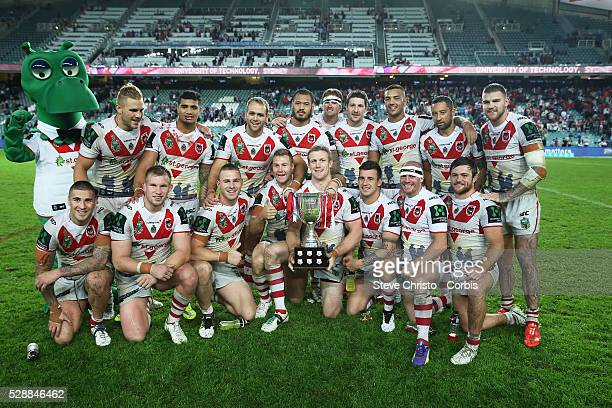 Dragon's with the ANZAC Day Cup after defeating the Roosters 14 -12 in their ANZAC day clash at Allianz Stadium. Sydney, Australia. Saturday, 25th...