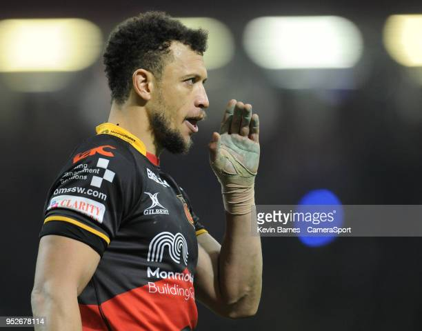 Dragons' Zane Kirchner during the Guinness PRO14 Round 21 Judgement Day VI match between Cardiff Blues and Ospreys at Principality Stadium at...