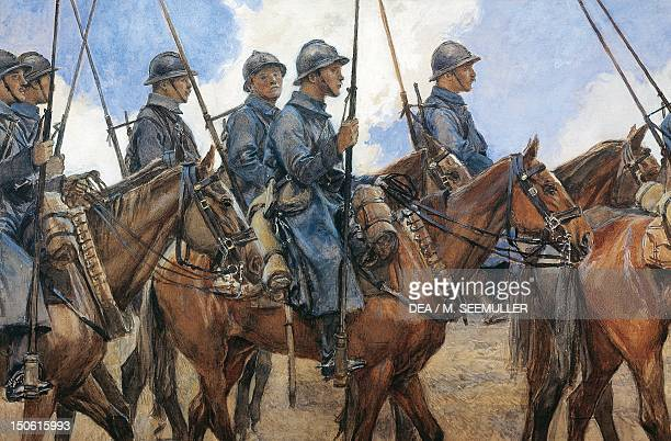 Dragoons in Champagne April 1917 by Francois Flameng watercolour World War I France 20th century