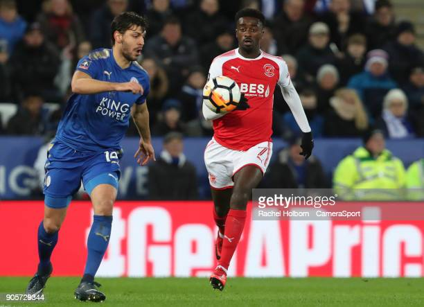 Dragovic and Fleetwood Town's Jordy Hiwula during The Emirates FA Cup Third Round Replay match between Leicester City and Fleetwood Town at The King...