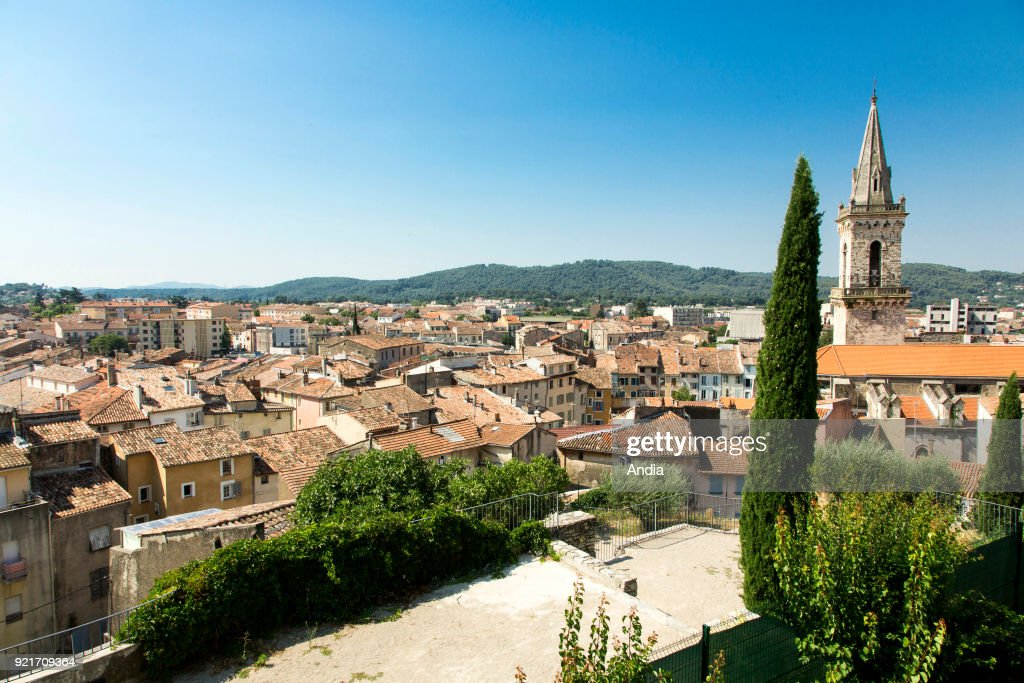 Draguignan (south-eastern France) tiled roofs, rooftop view of the city. On the right, the Church of St Michel.