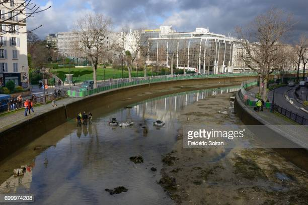 Drainage and Cleaning Operation At Canal Saint Martin In Paris on May 10 2017 in Paris France