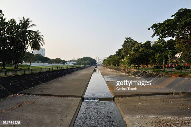 Drainage canal and recreation corridor in a rural Singapore suburb, Yew Tee