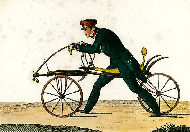 Draisienne, ancestor of the bicycle, invented 1816 by Baron Karl von Drais , 1820