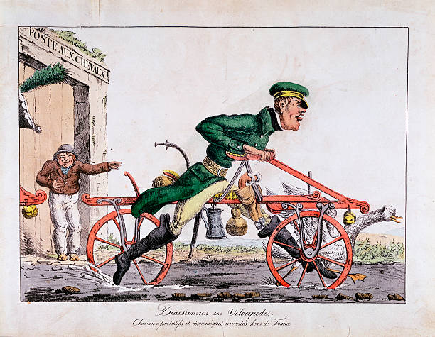 Draisienne or velocipede, France, 1818. The Draisienne was the forerunner of the bicycle and was invented by Baron von Drais in France in 1817. It...