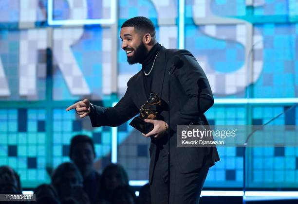 Drake accepts Best Rap Song for 'God's Plan' onstage during the 61st Annual GRAMMY Awards at Staples Center on February 10 2019 in Los Angeles...