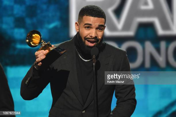 Drake accepts the Best Rap Song award for 'God's Plan' onstage backstage during the 61st Annual GRAMMY Awards at Staples Center on February 10 2019...