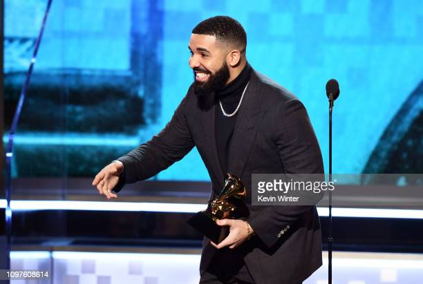 Drake accepts the Best Rap Song award for 'God's Plan' onstage during the 61st Annual GRAMMY Awards at Staples Center on February 10 2019 in Los...