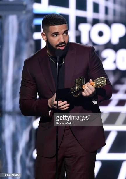 Drake accepts the Top Billboard 200 Album award for 'Scorpion' onstage during the 2019 Billboard Music Awards at MGM Grand Garden Arena on May 01...